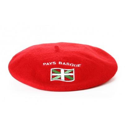 Béret souvenir brodé drapeau rouge T10