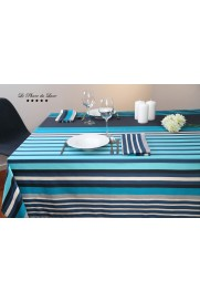 Nappe coton satiné rectangulaire Hendaye turquoise