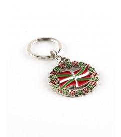 Porte-clés avec Rond Drapeau et Petites Croix Basque