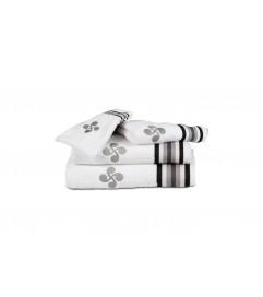 Drap de bain Croix et Rayures grises Blanc