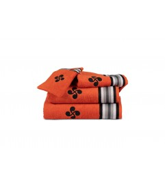 Drap de douche Croix et Rayures grises Orange