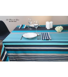 Nappe coton satiné rectangulaire Hendaye turquoise