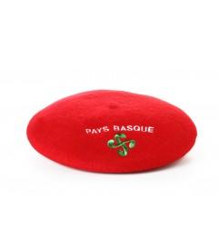 Béret souvenir brodé Croix basque rouge T11