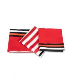 Serviette coton satiné Biarritz rouge
