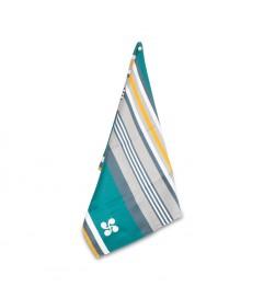 Torchon Bidart Croix Basque Turquoise coton satiné